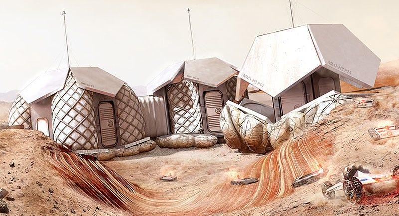 Illustration for article titled El arquitecto Norman Foster diseña una detallada propuesta para una base en Marte