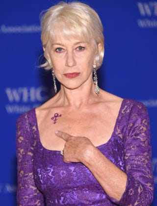 Actress Helen Mirren shows her Prince symbol tribute at the 102nd White House Correspondents' Association dinner April 30, 2016, in Washington, D.C. Larry Busacca/Getty Images