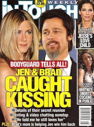 Illustration for article titled This Week In Tabloids: Brad & Jen Seen Kissing; Whitney Houston On Coke