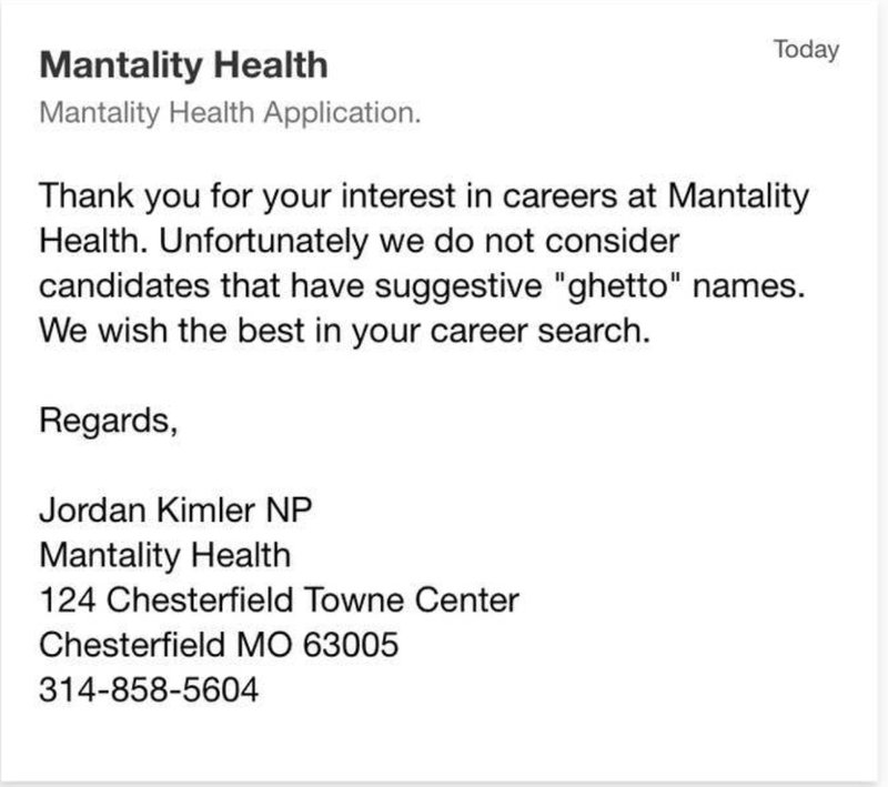 Screenshot of the email Hermeisha Robinson received from Mantality Health