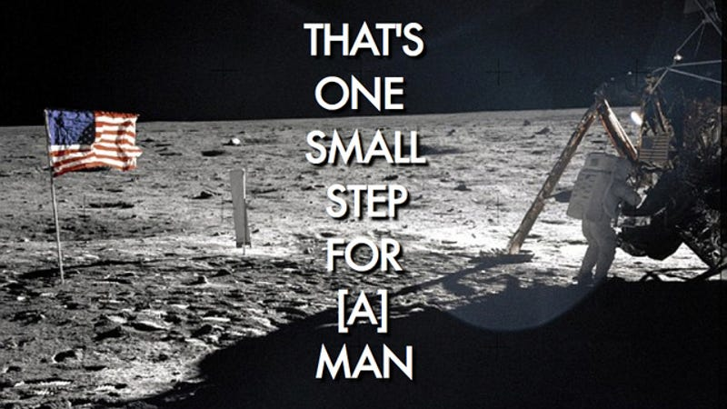 "Illustration for article titled Neil Armstrong may have lied about the origins of his ""One Small Step"" speech"