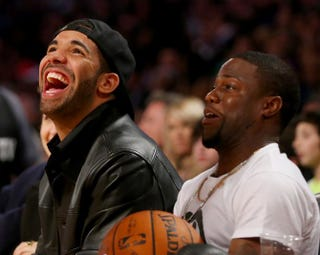 Drake and Kevin Hart attend the 2014 NBA All-Star game at the Smoothie King Center on Feb. 16, 2014, in New Orleans. Ronald Martinez/Getty Images