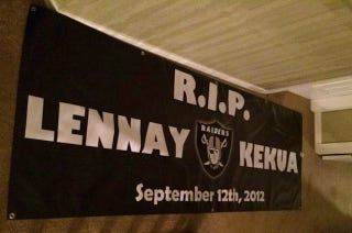 """Illustration for article titled Watch For This """"RIP Lennay Kekua"""" Sign In Oakland Tonight"""