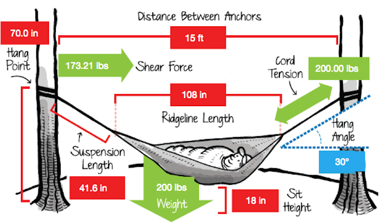 Illustration for article titled This Calculator Shows You The Right Way to Hang a Hammock