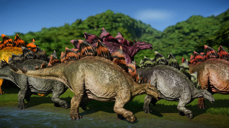 Illustration for article titled Jurassic World Evolution Fans Are Flooding The Game With Stegosauruses