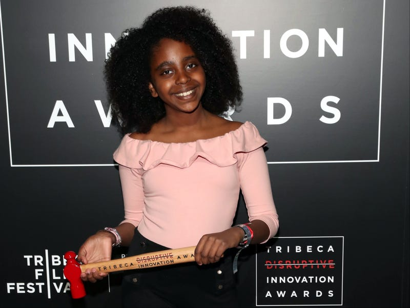 Student-activist Naomi Wadler poses in an award room at the Tribeca Disruptive Innovation Awards at the Tribeca Film Festival on April 24, 2018, in New York City.