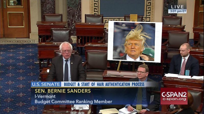 Illustration for article titled 14 Large Posters Bernie Should Have Brought to the Senate Floor Instead of That Trump Tweet