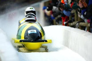 Jamaican bobsled team in 2002 in the Winter Olympic Games in Salt Lake City, UtahRobert Laberge/Getty Images Sports