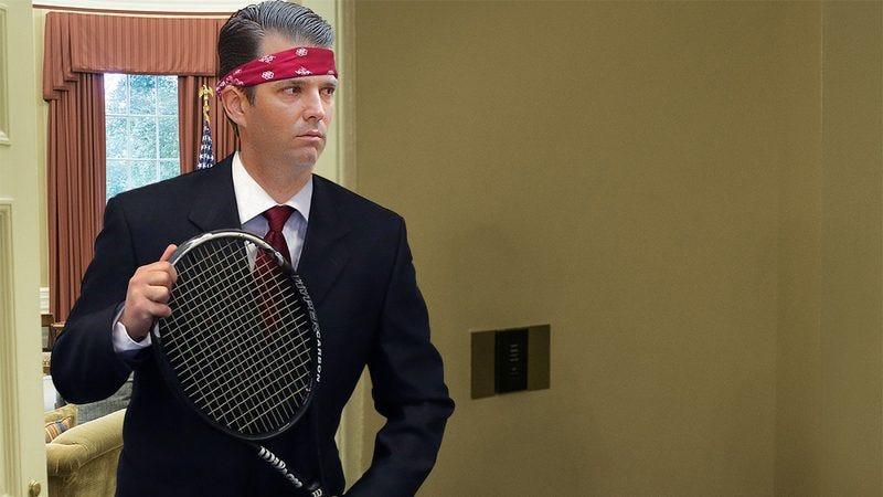 Donald Trump Jr. with tennis racket.