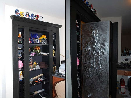 Any secret door wins me over instantly but a secret door that reveals Han Solo frozen in carbonite? Wow. Just wow. And it only cost $150 to install. & A Secret Door Hidden Room and Han Solo Frozen in Carbonite