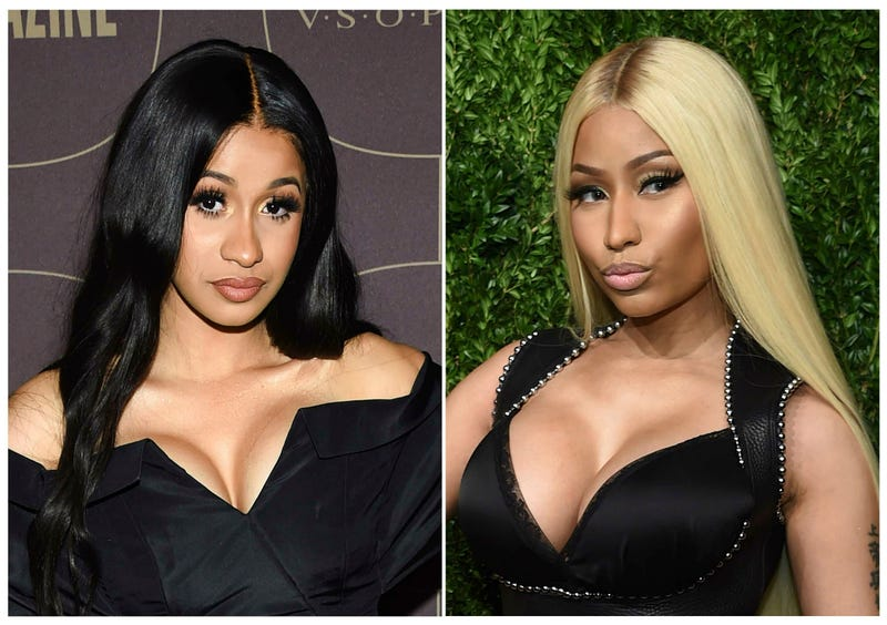 This combination photo shows Cardi B at the Warner Music Group pre-Grammy party in New York on Jan. 25, 2018, left, and Nicki Minaj at the 14th Annual CFDA Vogue Fashion Fund Gala in New York on Nov. 6, 2017. Cardi B and Nicki Minaj will headline concerts at the 7th annual BET Experience at L.A. LIVE, held days before the 2019 BET Awards. BET announced Wednesday that concerts will be held June 20 through June 22 at the Staples Center. The 2019 BET Awards will take place June 23.