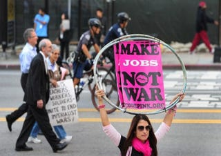 Demonstrators in Los Angeles (Getty Images)