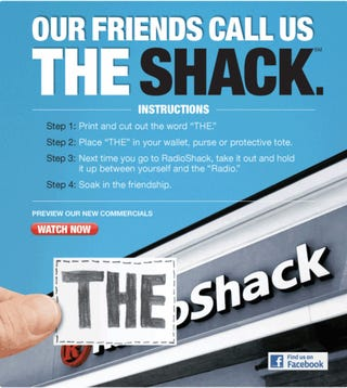 """Illustration for article titled Radio Shack Officially Becoming """"The Shack"""", Celebrating With Two 17-Foot Laptops"""