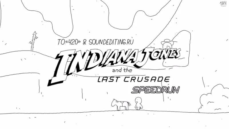 "Illustration for article titled Here's Indiana Jones And The Last Crusade as a one-minute animated ""speedrun"""