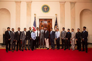 President Barack Obama with 2015 White House Mentorship and Leadership Program graduates at the White House June 15, 2015The White House