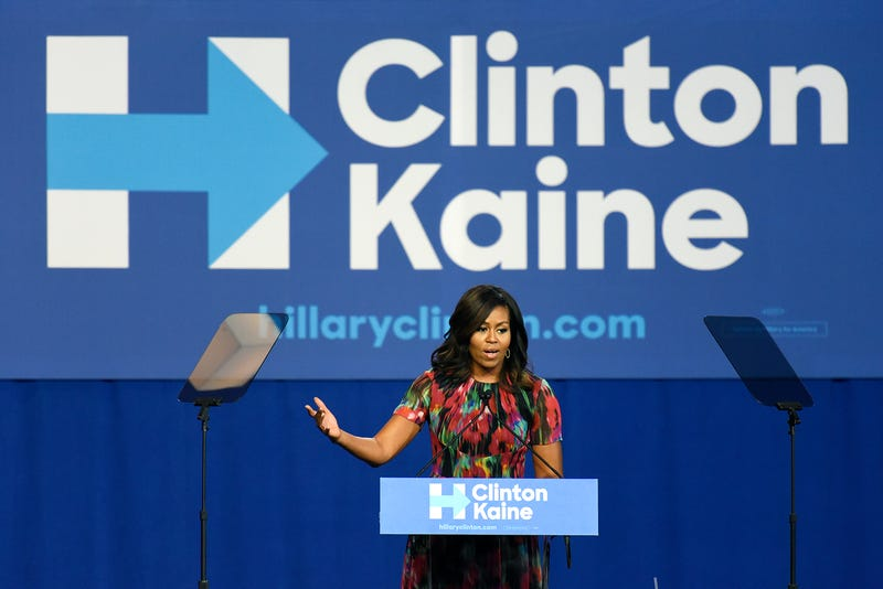 First lady Michelle Obama stumped for Hillary Clinton during a speech Oct. 4, 2016, in Charlotte, N.C. John D. Simmons/Charlotte Observer/TNS via Getty Images