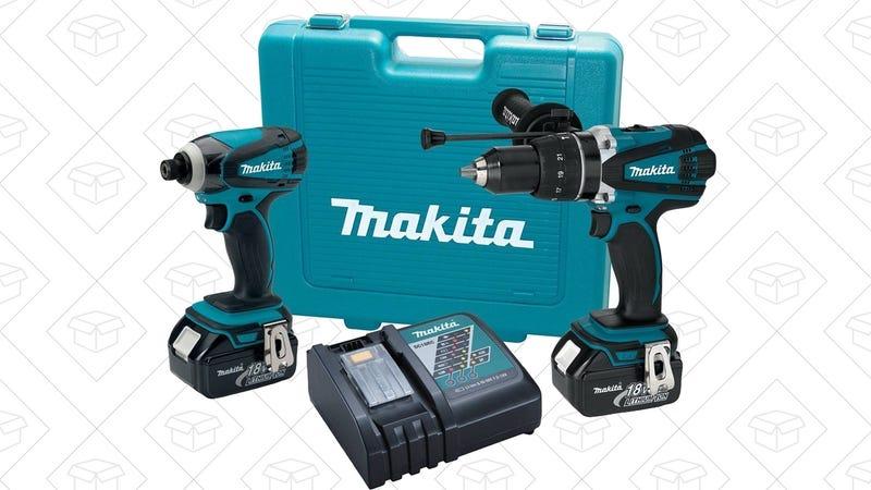 Makita 18V Li-Ion Combo Kit + Drill Bits + Bit Holder, $220