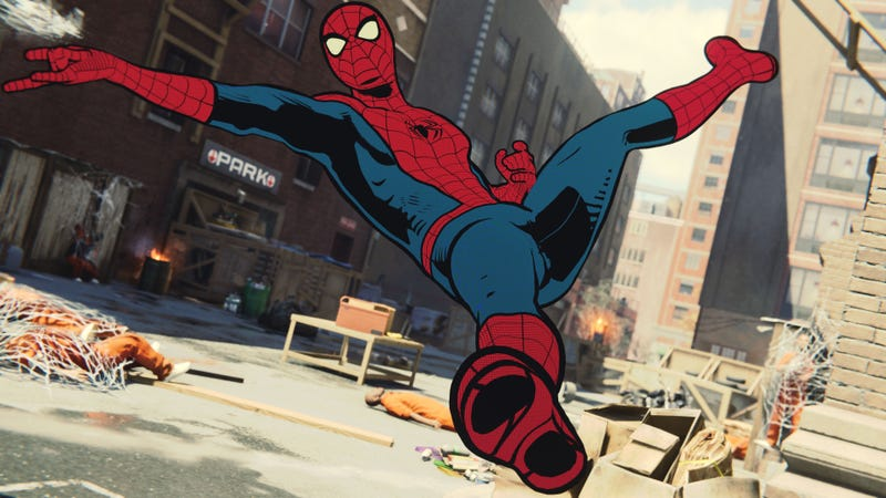 Spider-Man's vintage comic suit is the best thing in an already amazing Spider-Man game.