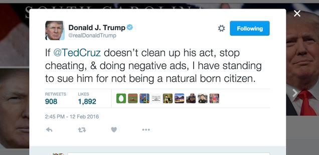 Donald Trump Wont NOT Sue Ted Cruz