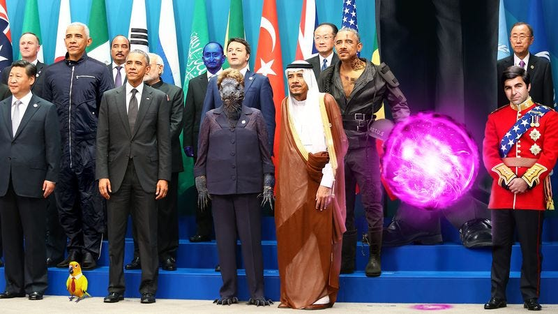 Obama poses for a photo with visiting alternate world leaders, including Master Command Droid Barack O-3, Supreme Leader Dukakis, and some 1,500 single-celled dignitaries.