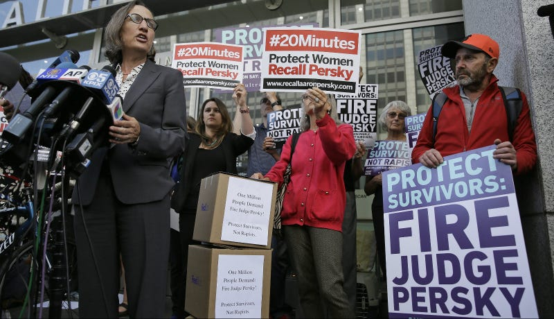 Stanford law professor Michele Dauber speaks at a rally before activists delivered over one million signatures to the California Commission on Judicial Performance calling for the removal of Judge Aaron Persky in June. Photo via AP