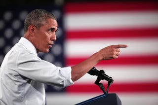 President Barack Obama speaks at a Ford plant in Wayne, Mich., Jan. 7, 2015, during a stop on a three-city tour leading up to his State of the Union address.Bill Pugliano/Getty Images