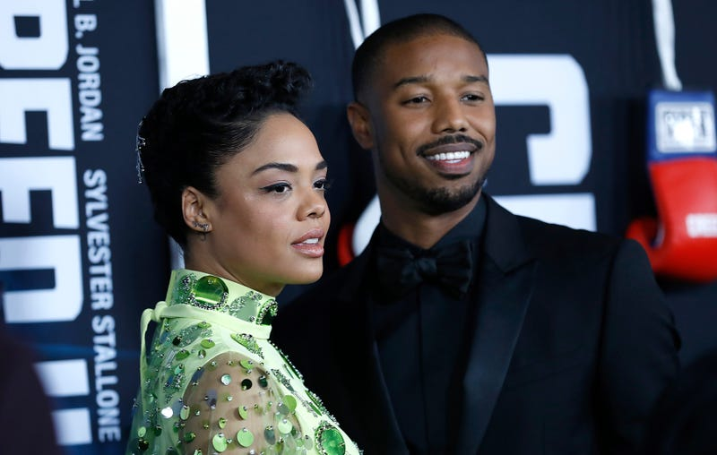 Tessa Thompson and Michael B. Jordan attend 'Creed II' New York Premiere  on November 14, 2018 in New York City.