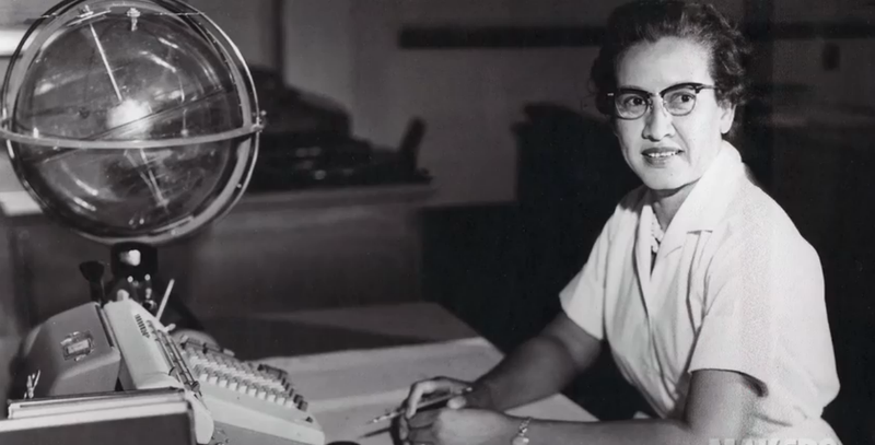 A NASA photo of Katherine Johnson at work.