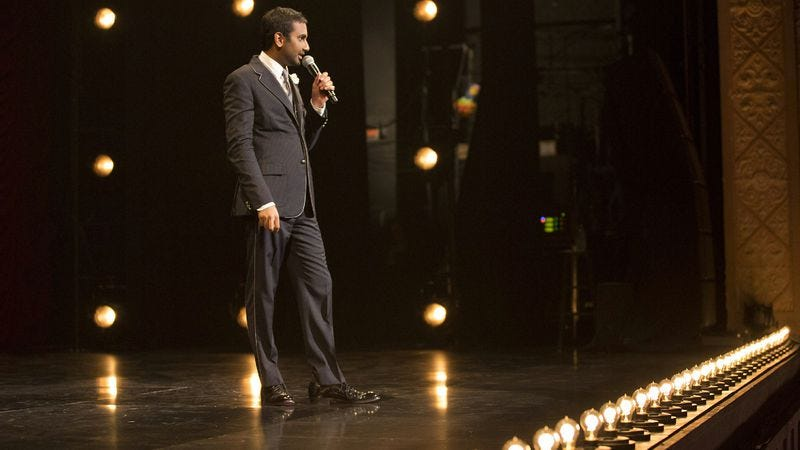 Illustration for article titled Aziz Ansari becomes the Malcolm Gladwell of stand-up comedy. (And that's a good thing.)