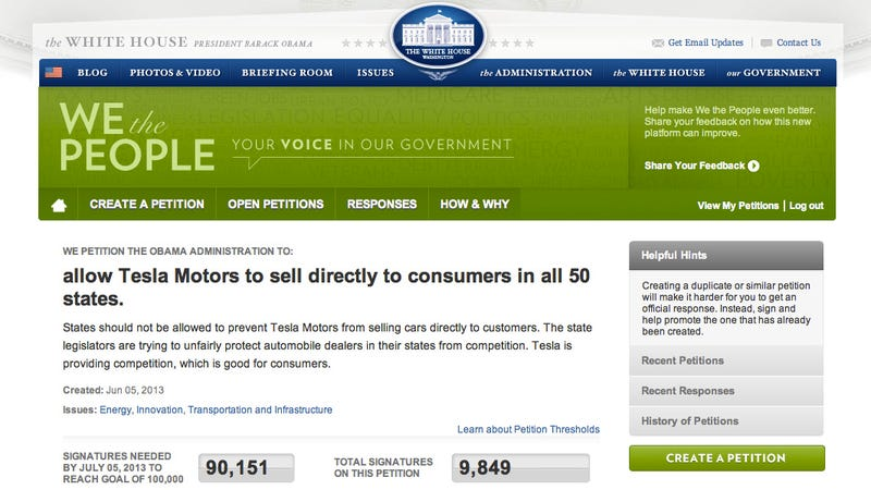 Illustration for article titled Tesla Promotes a Petition to Stop States from Banning Tesla Direct to Consumer Sales
