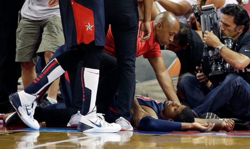 Illustration for article titled A Lot Of You Wanted To See Paul George's Broken Leg This Year