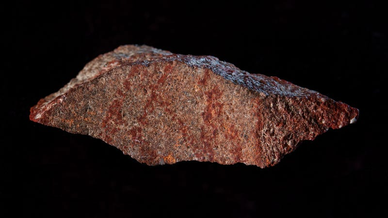 The red marks on this flake represent the oldest known drawing in the archaeological record, according to new research.