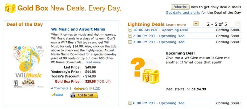 Illustration for article titled Amazon Offering Wii Deals All Day, The Wii Itself Included?