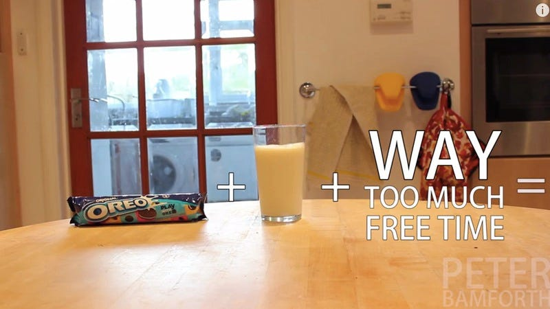 Illustration for article titled Internet-based time wasting comes to a head with this video of Oreo trick shots