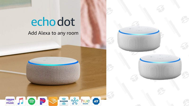 Illustration for article titled Pick Up Two Amazon Echo Dots for The Price of One