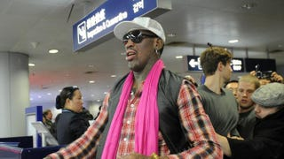 Dennis Rodman prepares to check in for his flight to North Korea at Beijing's international airport on Jan. 6, 2014.WANG ZHAO/AFP/Getty Images