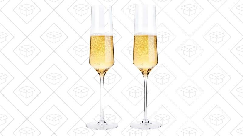 Bella Vino Crystal Champagne Flute Glasses | $8 | Amazon | Use code 8F4HEY4L