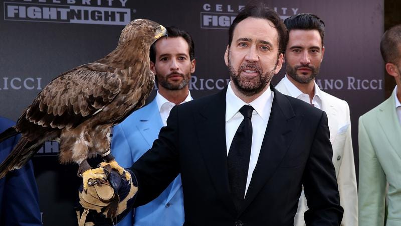 Here's Cage with a hawk (or maybe it's a falcon?) and some male models, just because. (Photo: Jonathan Leibson / Getty Images)