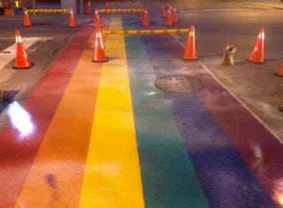 Illustration for article titled Rainbow Crosswalks installed in Toronto in time for Pride