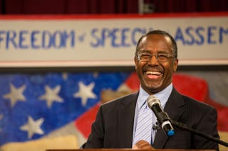 Dr. Ben Carson speaks at the South Carolina Tea Party Coalition convention Jan. 18, 2015, in Myrtle Beach, S.C.Richard Ellis/Getty Images