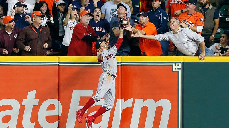 Illustration for article titled Fan Robs Jose Altuve Of Game-Tying Dinger, Or Maybe Robs Mookie Betts Of Spectacular Catch