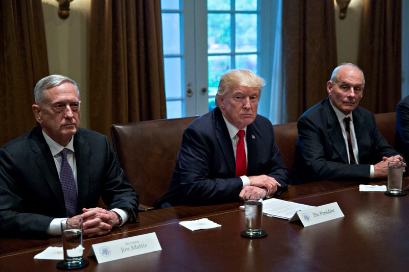 Secretary of Defense Jim Mattis, President Donald Trump and White House chief of staff John Kelly attend a briefing with senior military leaders in the Cabinet Room of the White House in Washington, D.C., on Oct. 5, 2017. (Andrew Harrer-Pool/Getty Images)