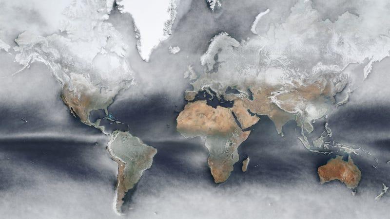Illustration for article titled Este fascinante mapa de la Tierra promedia las fotos de satélite de todo un año en una sola imagen