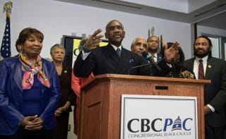 Chairman of the Congressional Black Caucus Political Action Committee Gregory Meeks (D-N.Y.) announces the CBC PAC's endorsement of Democratic presidential candidate Hillary Clinton on Feb. 11, 2016.NICHOLAS KAMM/AFP/Getty Images