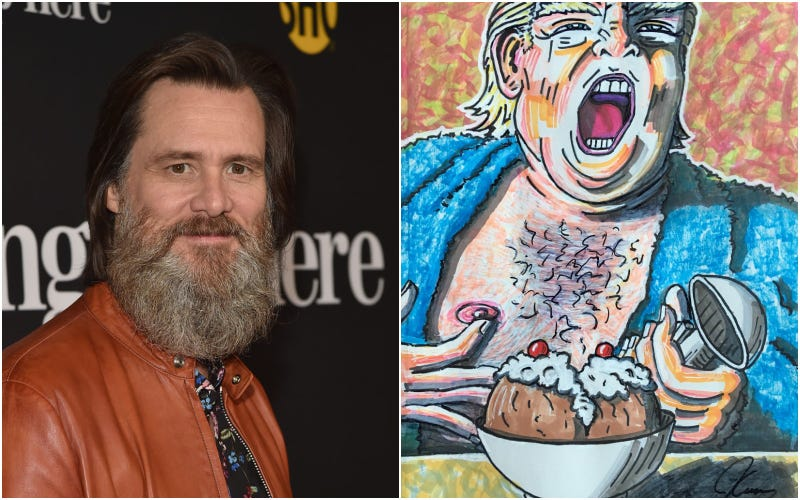 Illustration for article titled Jim Carrey can't stop painting semi-nudes of Donald Trump