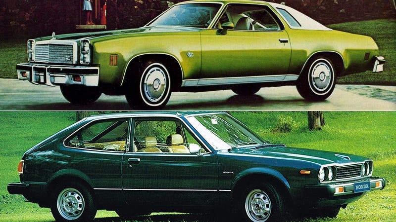 Photo Credits: Chevrolet via OldCarBrochures, Honda via HondaBrochures