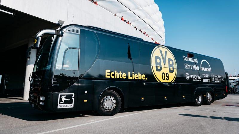 The Dortmund bus before this weekend's match against Bayern Munich. Photo credit: Alexander Scheuber/Getty