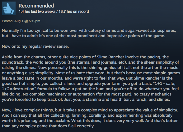 Slime Rancher, As Told By Steam Reviews