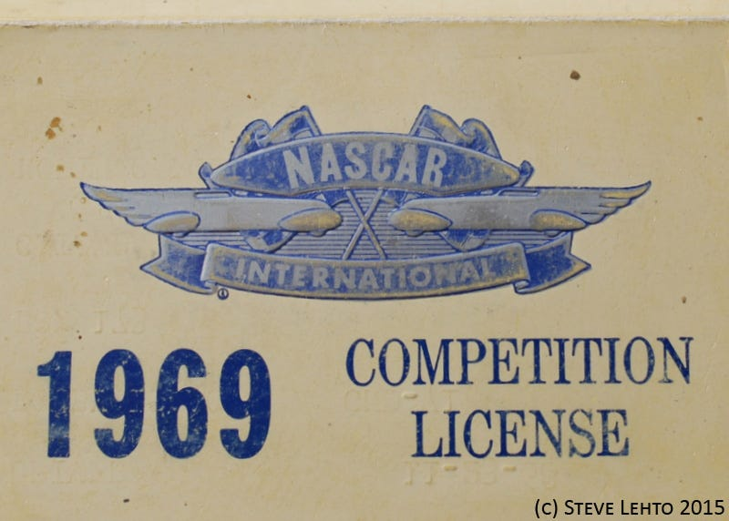 Illustration for article titled Here's A 1969 NASCAR Driver's License
