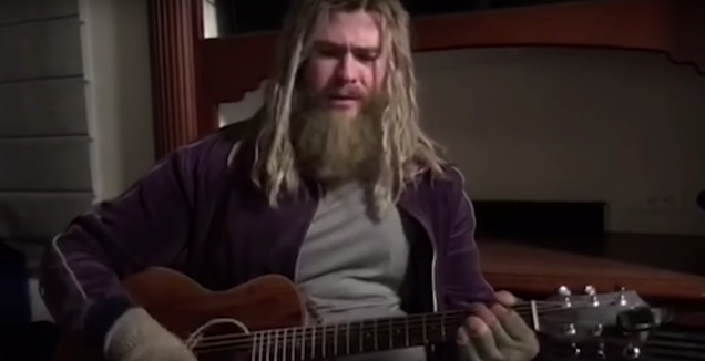 "Watch Chris Hemsworth's bloated Thor sing ""Hurt"""